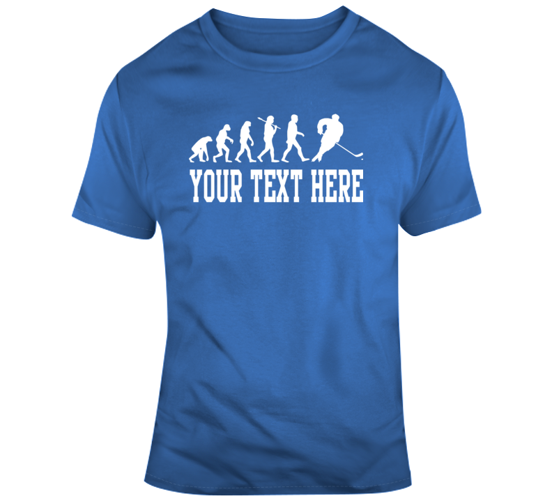 Evolution Of Hockey Player Blue White T Shirt
