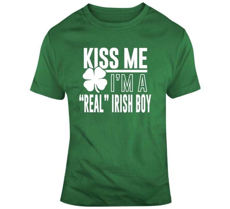 Kiss Me I'm A Real Irish Boy St Patricks Custom Name T Shirt