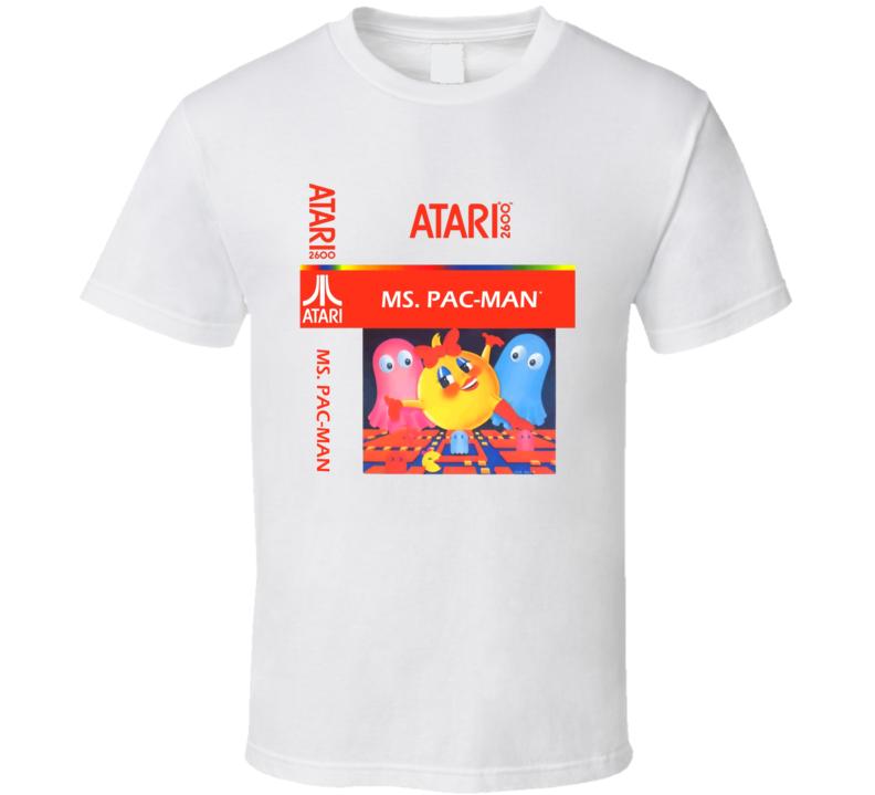 Atari Ms Pacman Classic Retro Video Game Cover Fan T Shirt