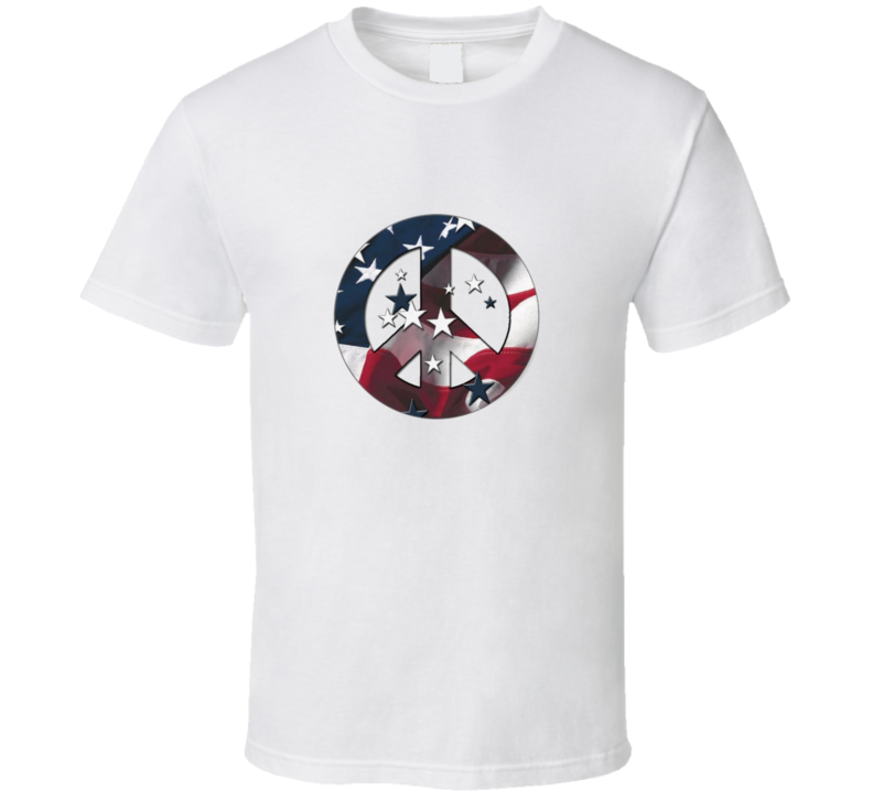 USA Peace Sign Stars and Stripes T Shirt