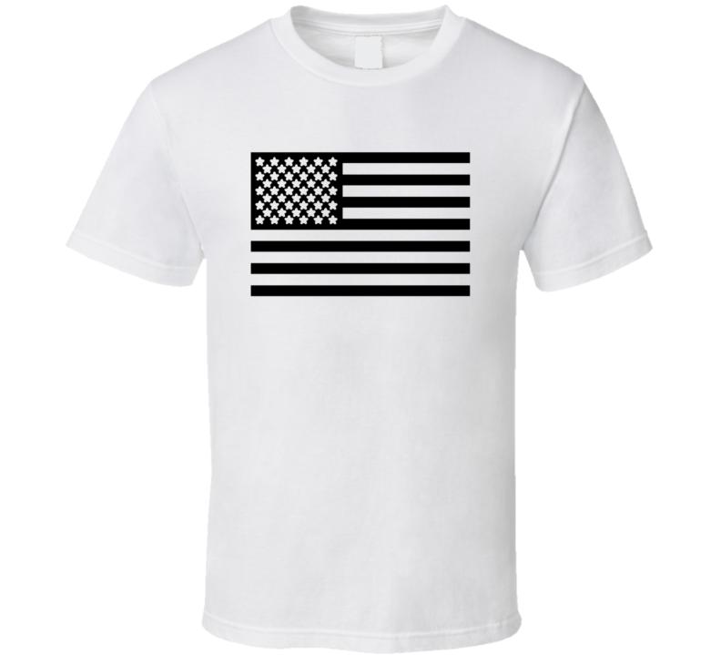 USA Flag Stars and Stripes Black and White T Shirt