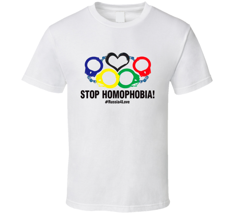 Stop Homophobia #Russia4Love Olympics Gay Rights T Shirt