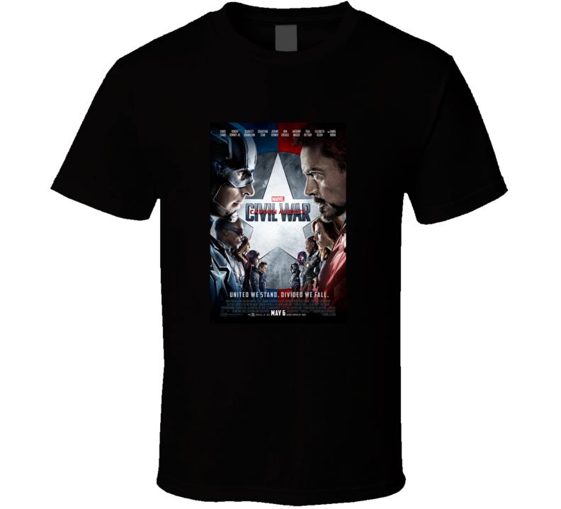 Captain America Civil War Marvel Movie Fan T Shirt
