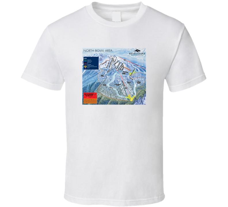 Revelstoke Ski And Snowboard Resort Mountain Trail Map Fan T Shirt
