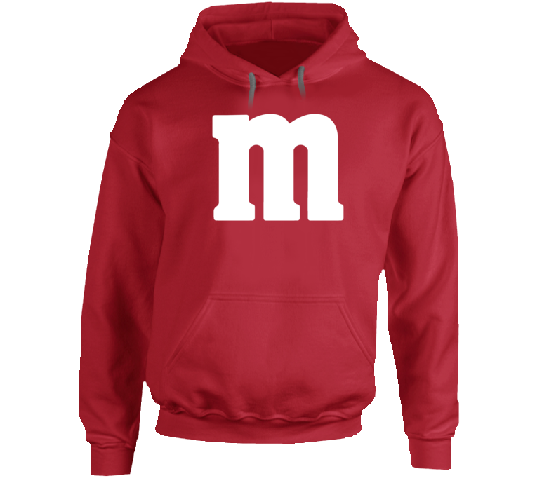 M&m's Red Chocolate Candy Costume Hoodie Hooded Sweatshirt