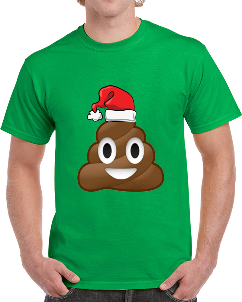 Christmas Poop Emoji Holiday Santa Hat T Shirt