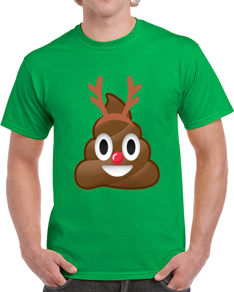 Christmas Poop Emoji Holiday Reindeer Antlers T Shirt