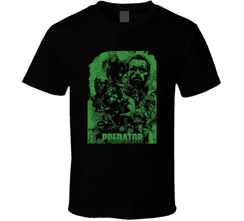 Predator Arnold Schwarenegger Movie Action Fan Black T Shirt