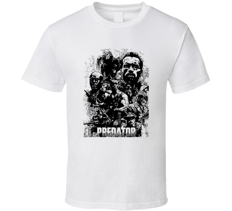 Predator Arnold Schwarenegger Movie Action Fan White T Shirt