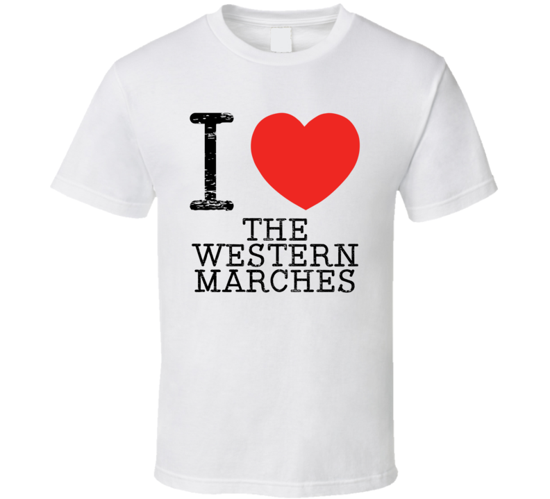 I Love Western Marches Heart Symbol Narnia Fantasy Place T Shirt