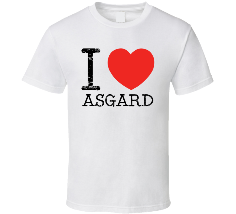I Love Asgard Heart Symbol Comic Book City T Shirt