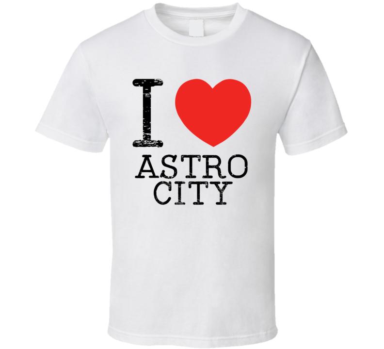 I Love Astro City Heart Symbol Comic Book City T Shirt