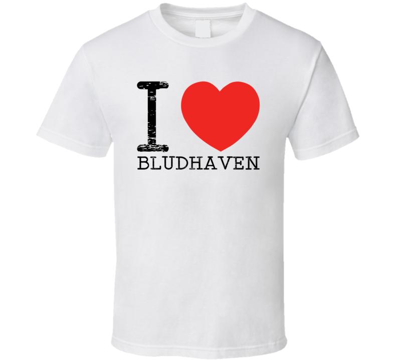 I Love Bludhaven Heart Symbol Comic Book City T Shirt