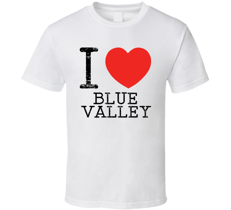 I Love Blue Valley Heart Symbol Comic Book City T Shirt