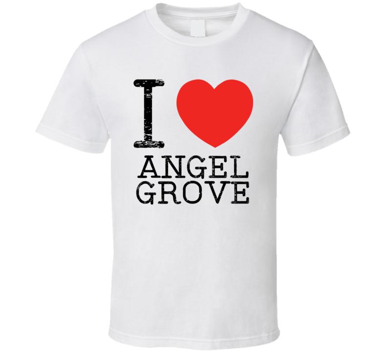 I Love Angel Grove Heart Symbol Movie TV City T Shirt