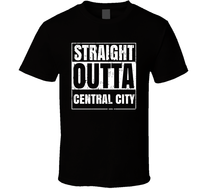 Straight Outta Central City Comic Book City Aged T Shirt