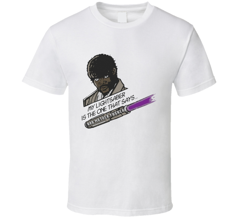 samuel lee jackson jules verne pulp fiction star wars jedi knight lightsaber parody funny T Shirt