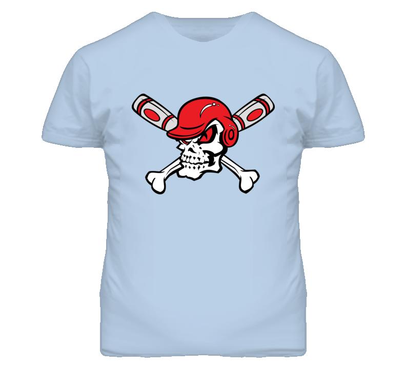 Red Eyed Baseball Skull Wearing Helmet Crossed Bats T Shirt