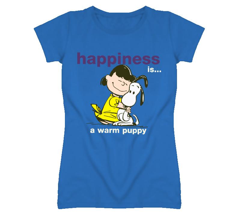 Happiness is a warm puppy - girls hugh a little dog T Shirt