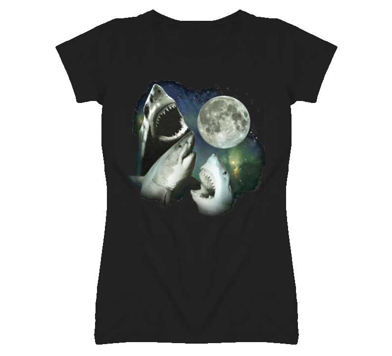 the moon and 3 sharks T Shirt
