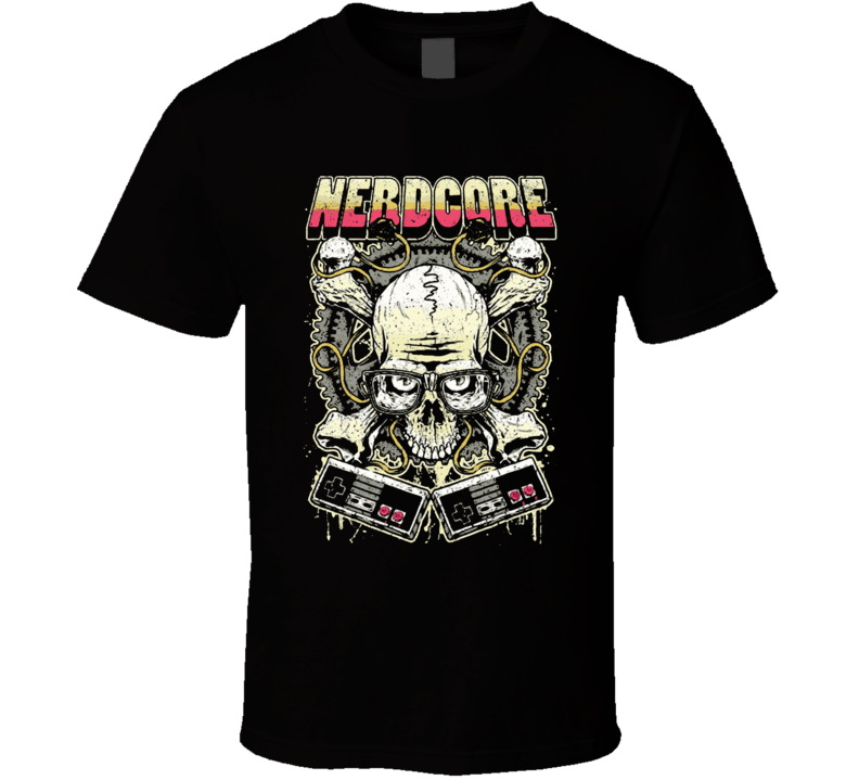 Nerd Core Nerdy Skull jolly roger Gamer addict T Shirt