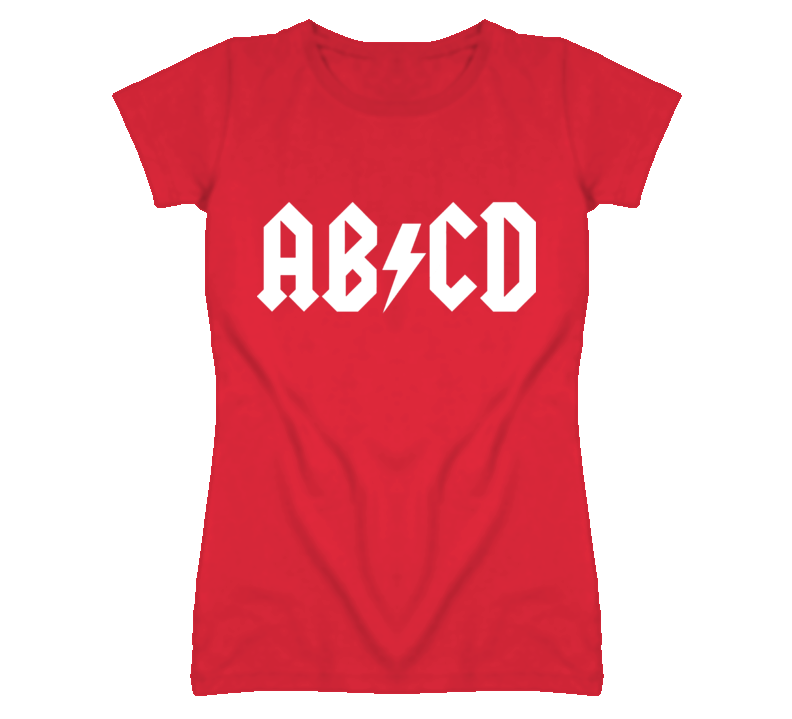 ab cd parody ac-dc white text  T Shirt