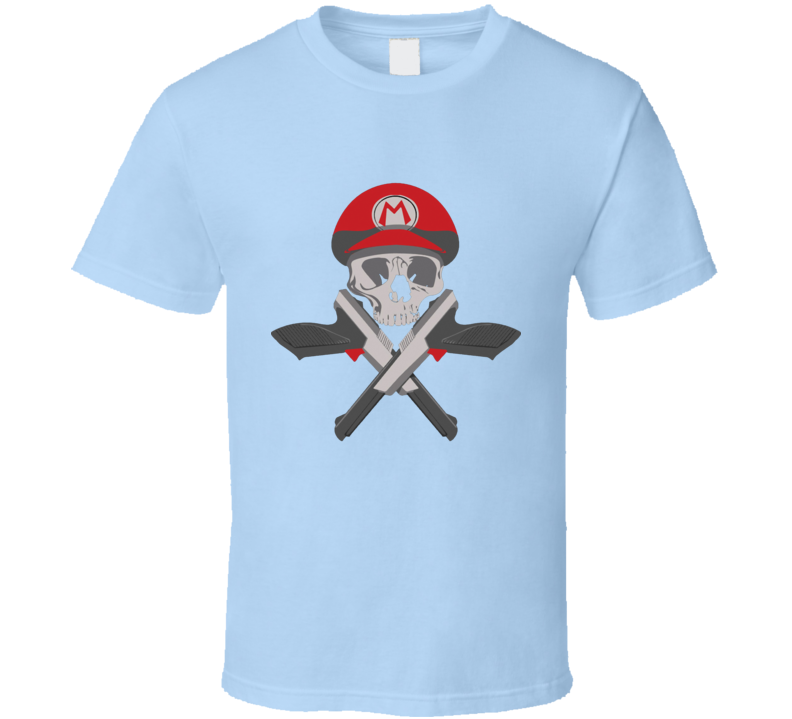 Super skull mario bros hat gun cross army parody T Shirt