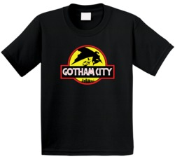 Batman Gotham City Jurassic Park Movie Logo Parody Mashup Fan Kids T Shirt