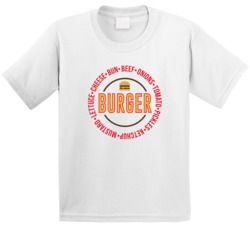 Cheeseburger Ingredients Recipe Funny Fast Food Fan Kids T Shirt