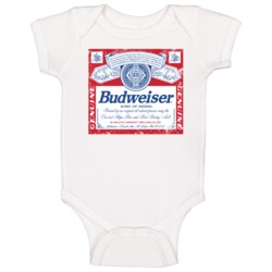 Budweiser American Beer Logo Retro Label Drinking Baby One Piece
