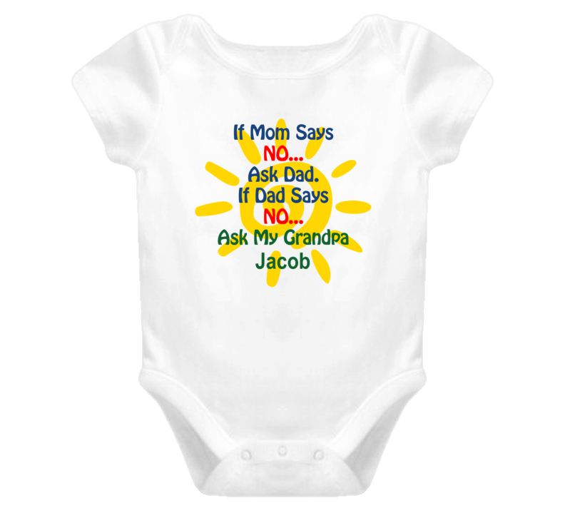 Jacob Ask Grandpa Funny Baby One Piece Bodysuit Baby One Piece