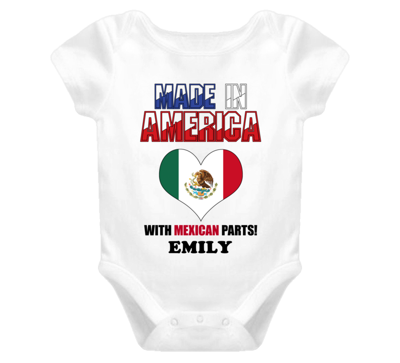 Emily Made in the USA Mexican Mexico Parts Baby One Piece