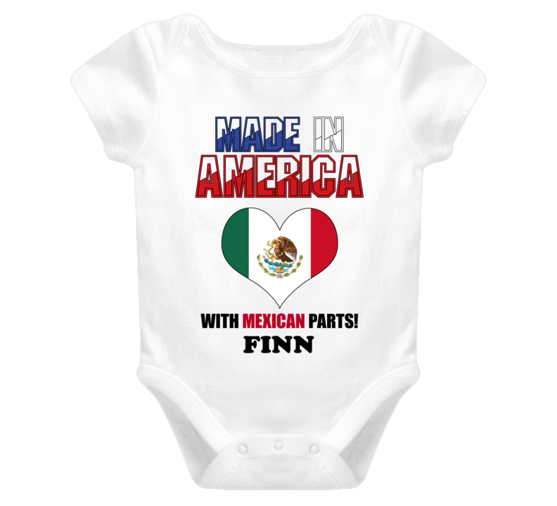 Finn Made in the USA Mexican Mexico Parts Funny Baby One Piece