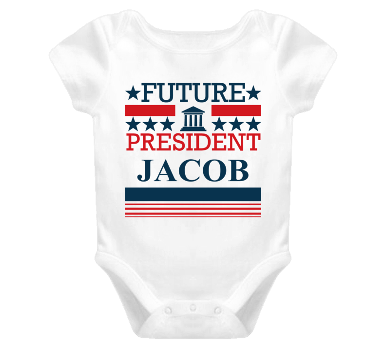 Jacob Future President Republican Democrat Funny Baby One Piece