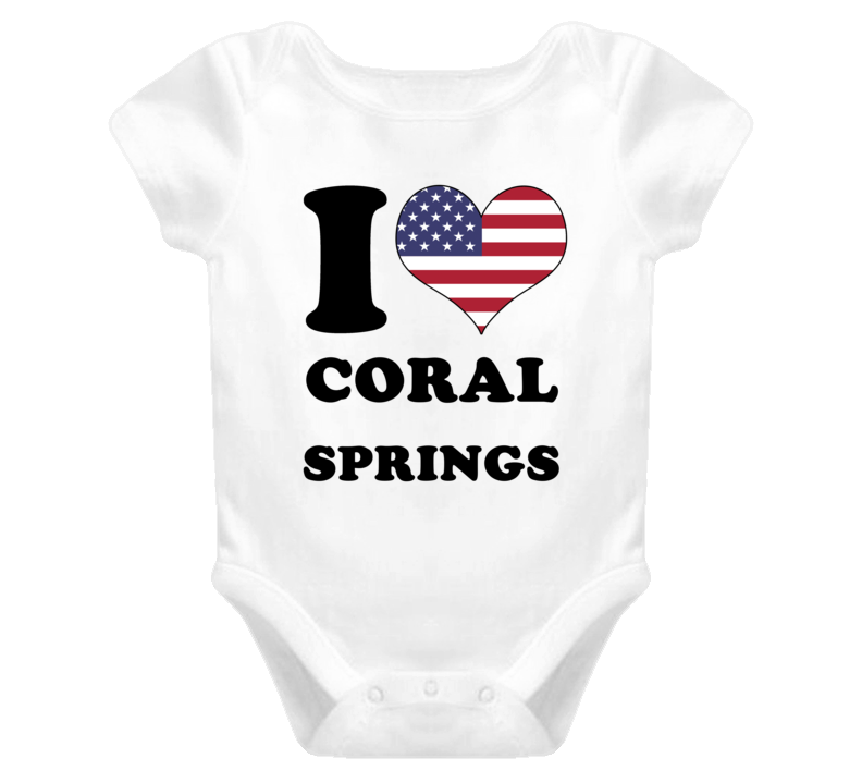 Coral Springs USA I Love Heart Patriotic T Shirt