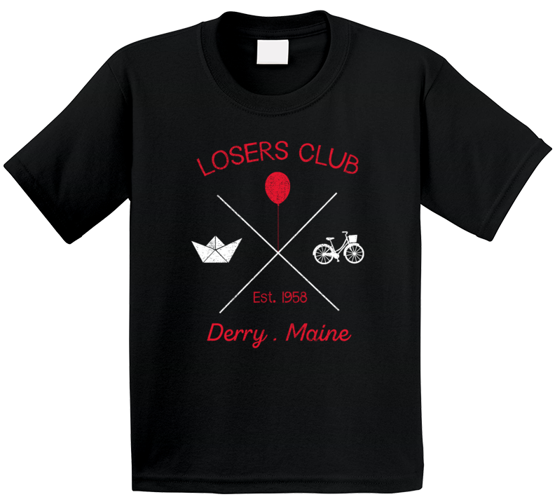 Losers Club Derry Maine It Pennywise Stephen King Horror Movie Novel Fan Kids T Shirt
