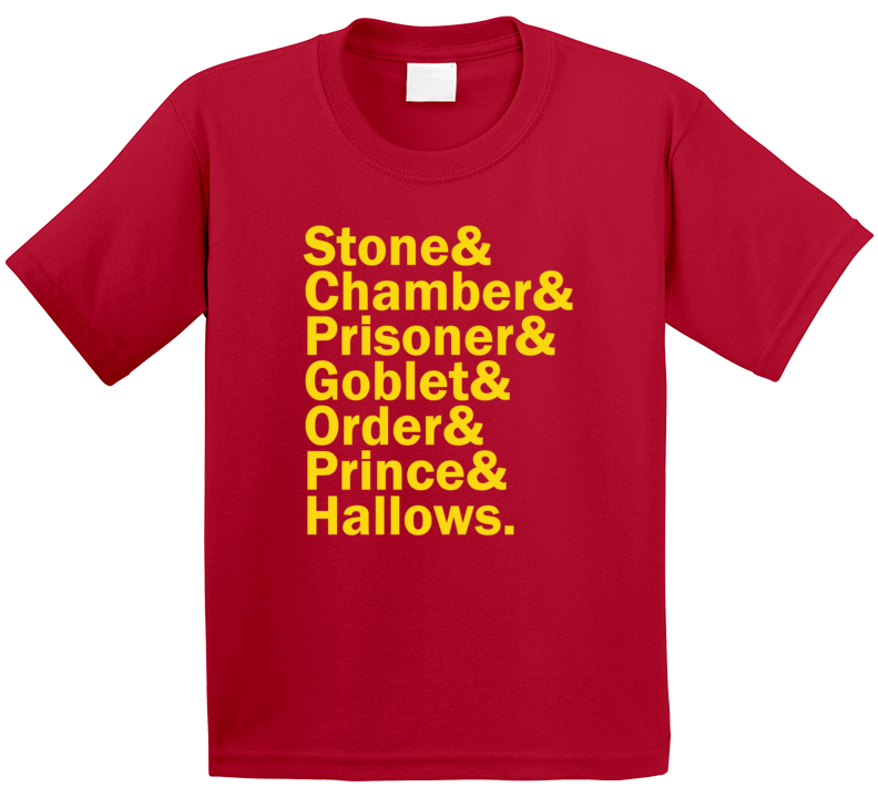 Harry Potter Film Titles And Name Helvetica List Trending Movie Tv Book Fan Kids T Shirt