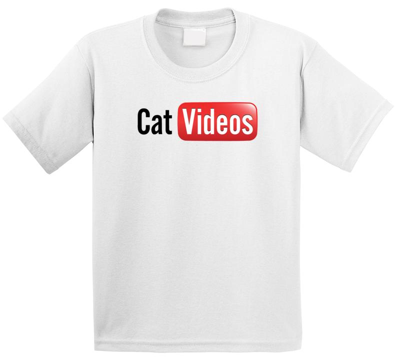 Cat Videos Youtube Logo Parody Kids T Shirt