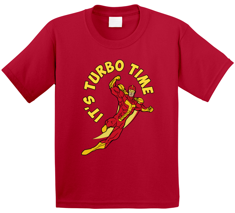 It's Turbo Time Turbo Man Jingle All The Way Christmas Movie Toy Action Figure Kids T Shirt