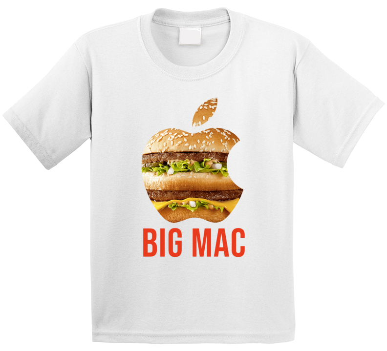 Big Mac Mcdonalds Burger Apple Logo Parody Mashup Kids T Shirt