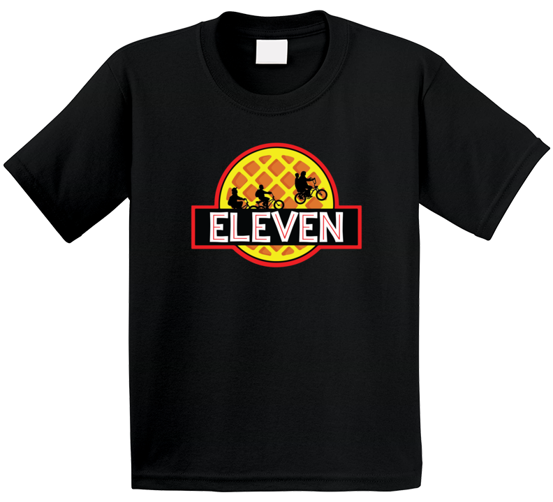 Stranger Things Eleven Waffle Jurassic Park Movie Logo Parody Mashup Kids T Shirt