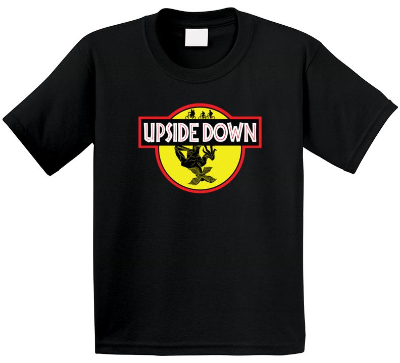 Stranger Things Upside Down Jurassic Park Movie Logo Parody Mashup Fan Kids T Shirt