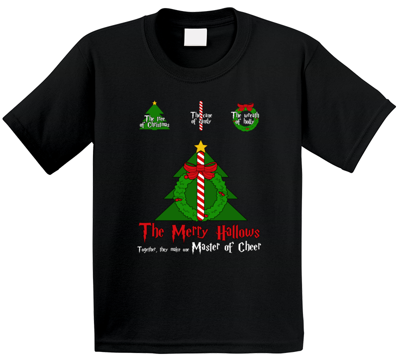 The Merry Hallows Master Of Cheer Harry Potter Christmas Deathly Hallows Parody Kids T Shirt