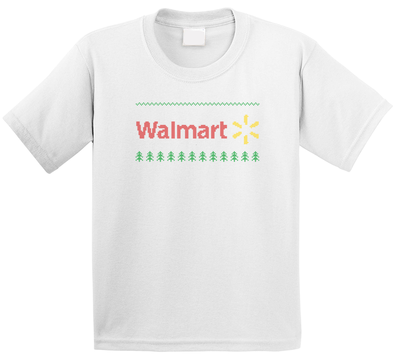 Walmart Logo Ugly Sweater Knitted Stitched Look Christmas Gift Kids T Shirt