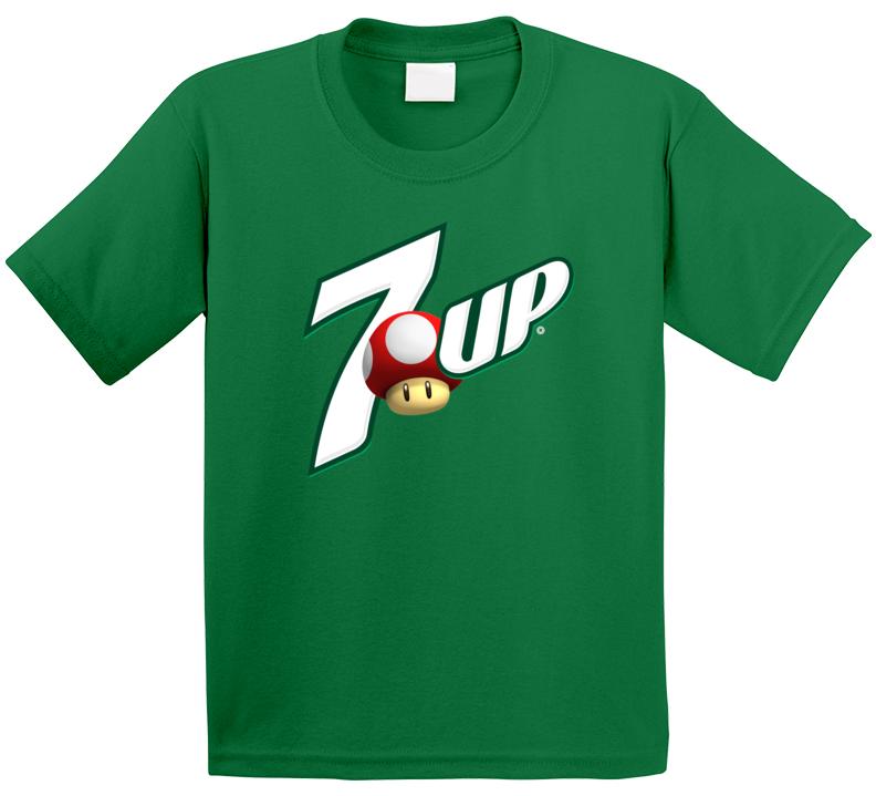 7 Up 1 Up Mario Mushroom Life Boost Logo Mashup Parody Geek Video Game Soda Kids T Shirt