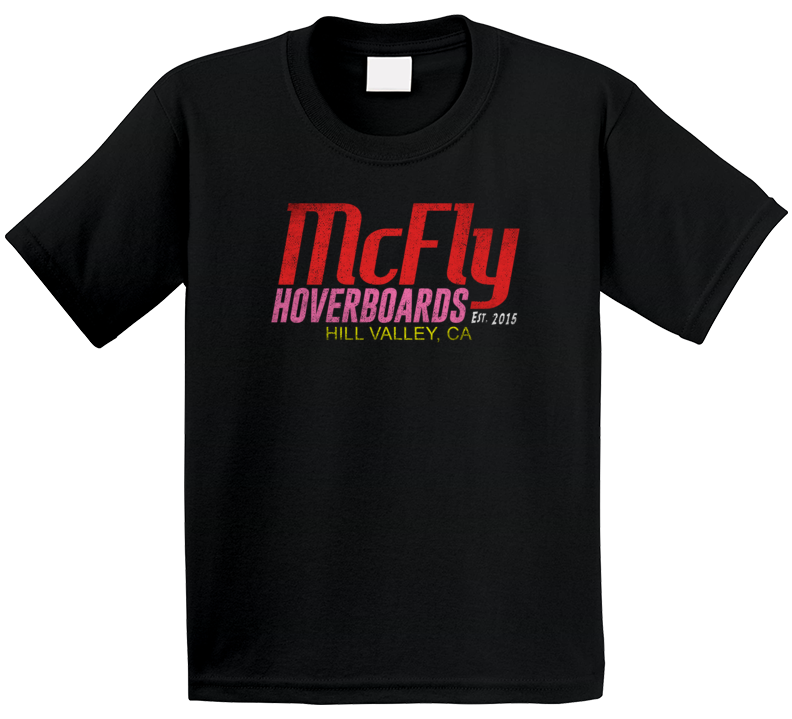 Marty Mcfly Hoverboard Fictional Futuristic Brand Logo Back To The Future Geek Fan Kids T Shirt
