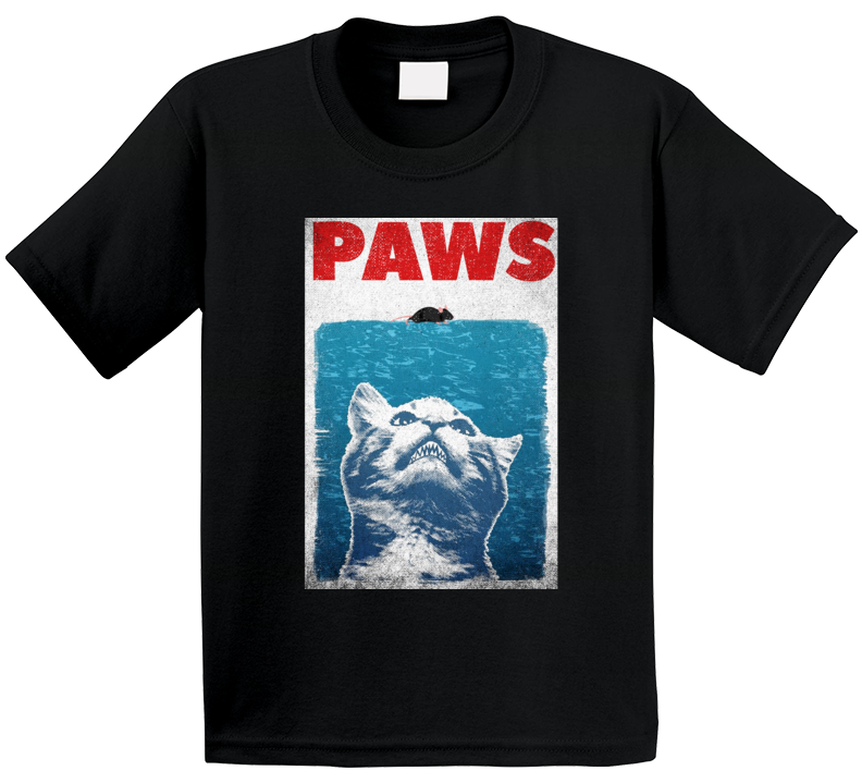 Paws Kitty Cat Jaws Parody Retro Movie Poster Grundge Worn Look Kids T Shirt