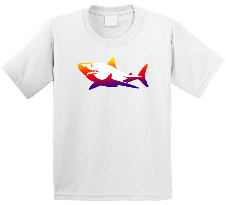 Rainbow Great White Animal Seas Life Lover Shark Week Tv Show Fan Kids T Shirt