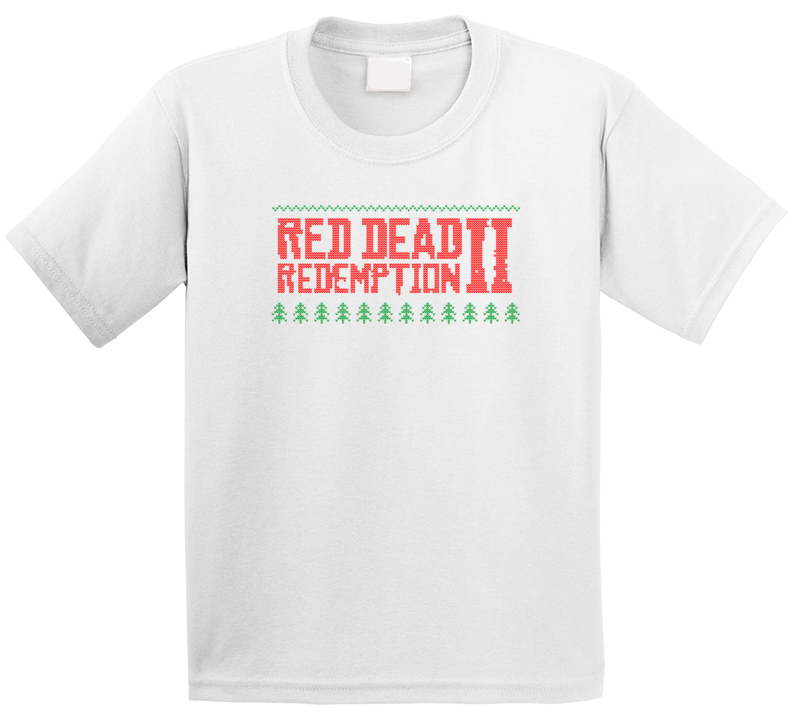 Red Dead Redemption 2 Logo Ugly Sweater Knitted Stitched Look Christmas Gift Kids T Shirt