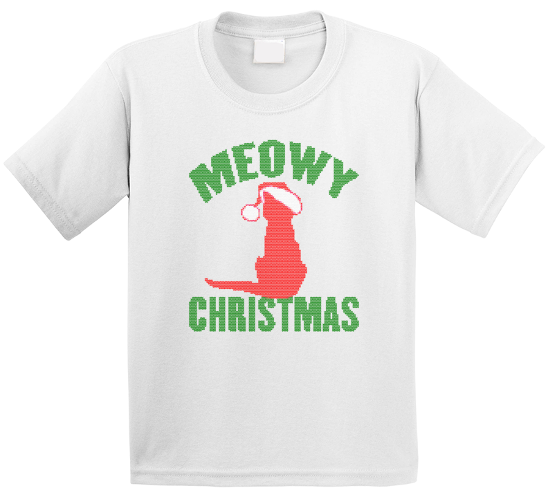 Meowy Merry Christmas Cute Cat Holiday Party Animal Ugly Sweater Stitched Look Gift Kids T Shirt